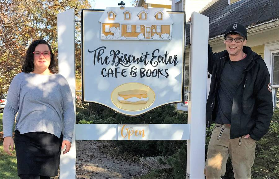 <p>KEVIN MCBAIN PHOTO</p><p>Owners Jessika Hepburn and Chris Graham are the current owners of the Biscuit Eater Caf&#233; &amp; Books, Mahone Bay&#8217;s newest heritage property located on 16 Orchard Street.</p>