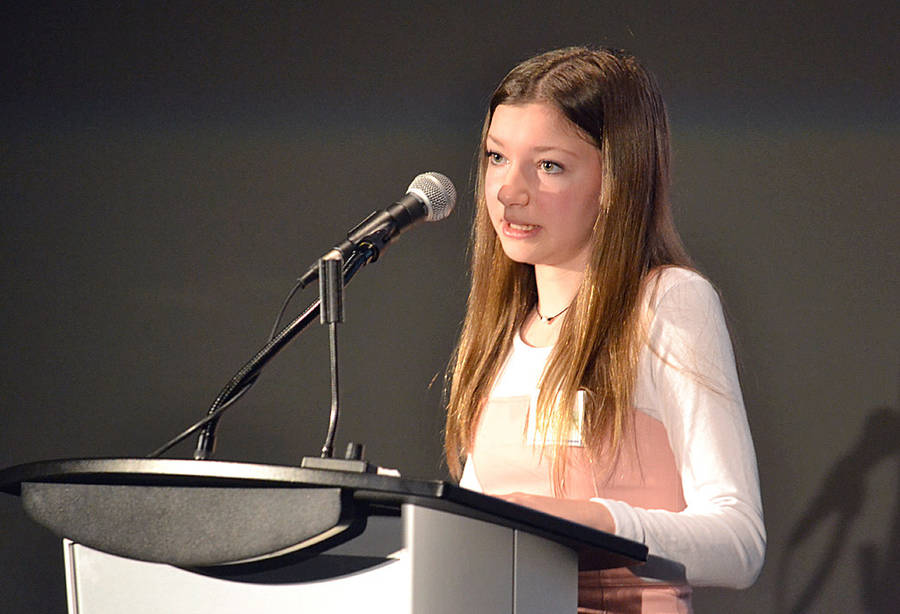<p>GAYLE WILSON PHOTO</p><p>Alyssa Schwartz, a 14-year-old student in Bridgewater, spoke before more than 200 medical professionals about her experience with Lyme disease.</p>