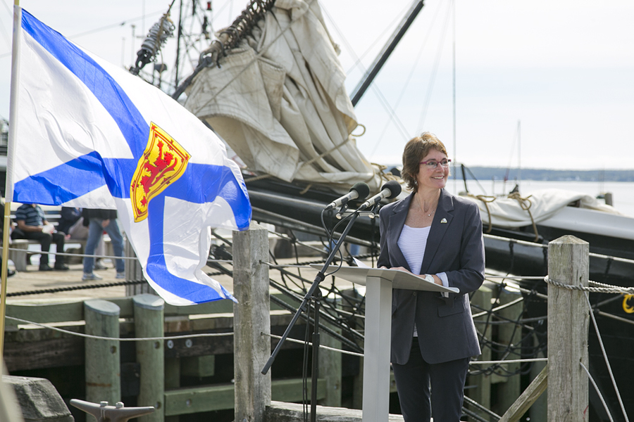 <p>BRITTANY WENTZELL PHOTO</p><p>Rachel Bailey, mayor of the Town of Lunenburg addresses the crowd during the announcement. The Tall Ships will arrive in Lunenburg the same weekend as Folk Harbour Festival, Lunenburg's largest event.</p>