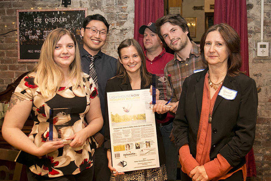 <p>LIGHTHOUSENOW PHOTO</p><p>The editorial team took home the award for Outstanding Community Engagement for their series on housing - How We Live.</p><p>From left: Brittany Wentzell, reporter, Michael Lee, reporter, Emma Smith, former editor, Keith Corcoran, reporter, Evan Bower, former reporter, and Gayle Wilson, reporter.</p>