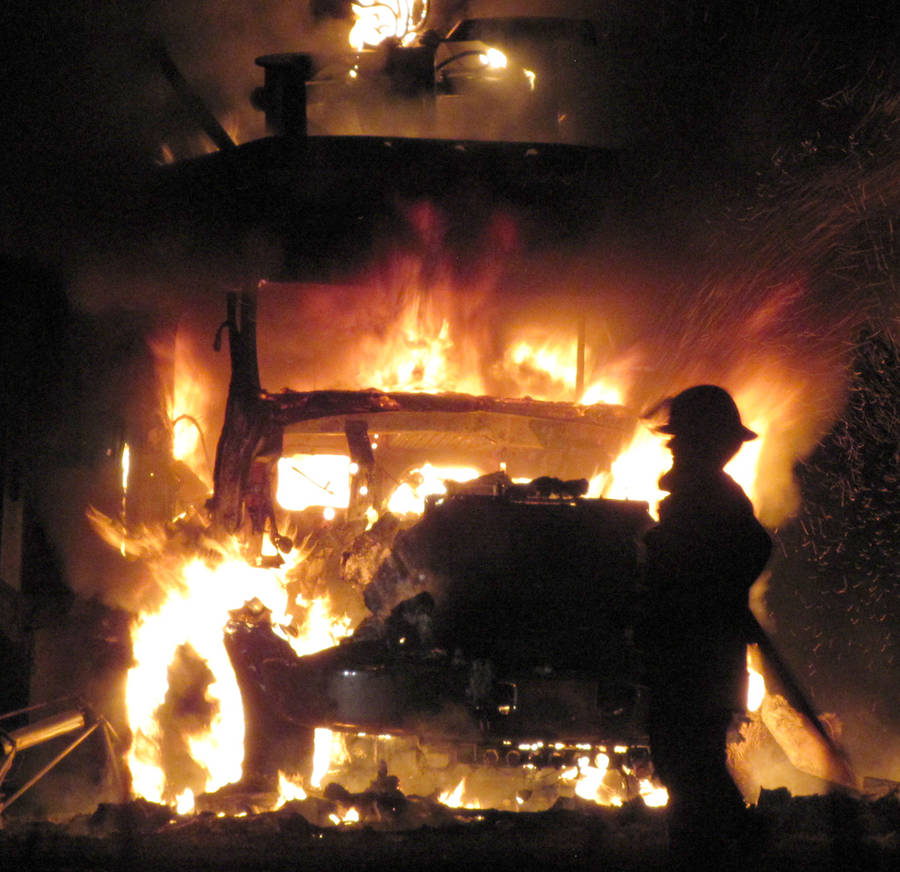 <p>KEITH CORCORAN, PHOTO</p><p>VEHICLE FIRE</p><p>A tractor trailer went up in flames late July 14 in Wileville and a pair of volunteer fire departments were summoned to deal with the incident. First responders, dispatched at 11:33 p.m., arrived at a property near the corner of Highway 325 and the Lester Getson Road to find the vehicle fully ablaze. Emergency crews worked the scene for about two hours. No other information about the incident was immediately available.</p>