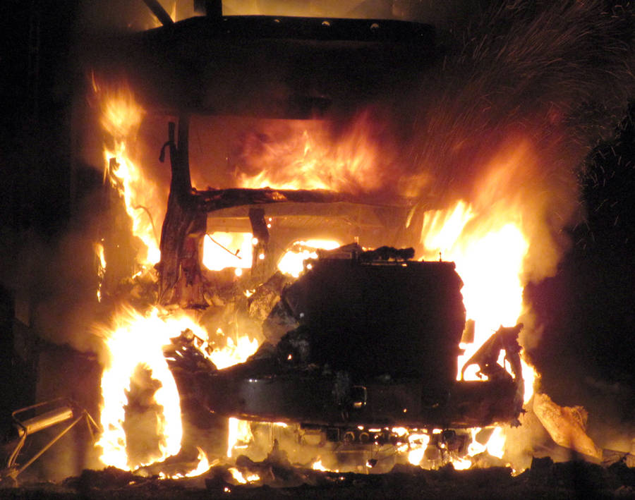 <p>KEITH CORCORAN, PHOTO</p><p>VEHICLE ABLAZE</p><p>A tractor trailer went up in flames late July 14 in Wileville and a pair of volunteer fire departments were summoned to deal with the incident. First responders, dispatched at 11:33 p.m., arrived at a property near the corner of Highway 325 and the Lester Getson Road to find the vehicle fully ablaze. Emergency crews worked the scene for about two hours. No other information about the incident was immediately available.</p>
